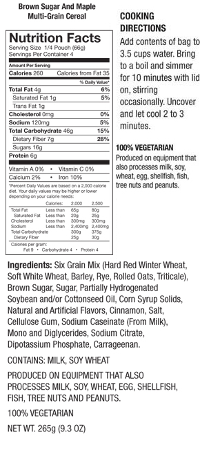 Multi-Grain Cereal Nutrition